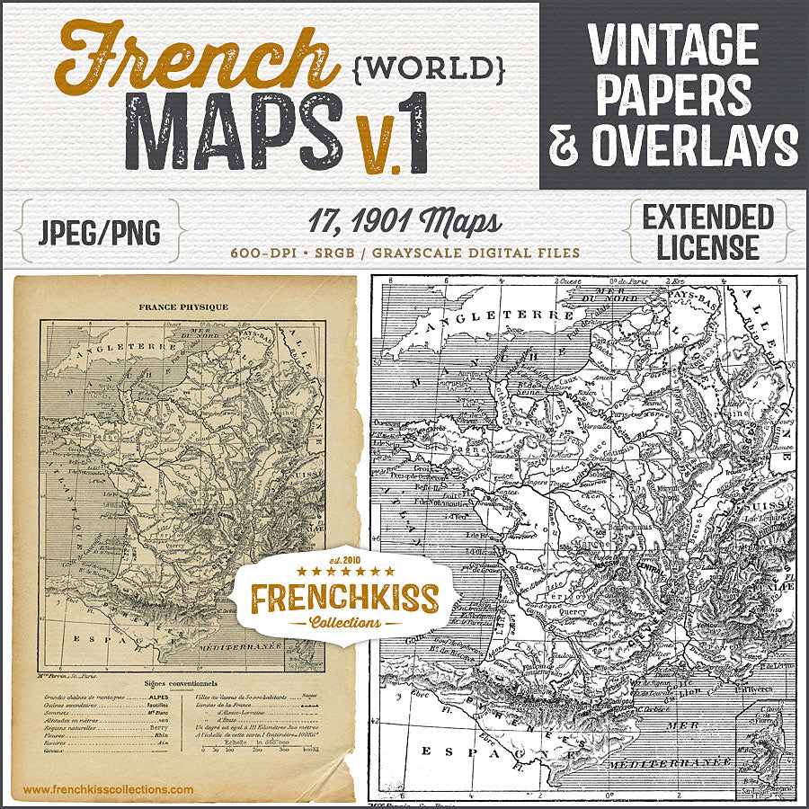 Map Of France Kisses.Vintage French Maps Volume One Papers And Overlays
