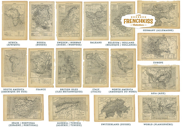 17 pages world maps from a 1901 vintage French book digital download..