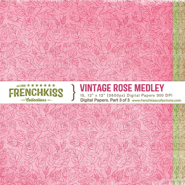 Vintage Rose Medley Digital Papers - patterned