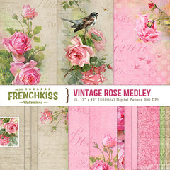 Vintage Rose Medley digital paper pack with C. Klein roses.