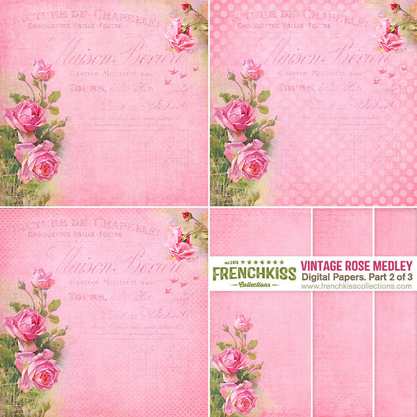Vintage Rose Medley Digital Papers - rose