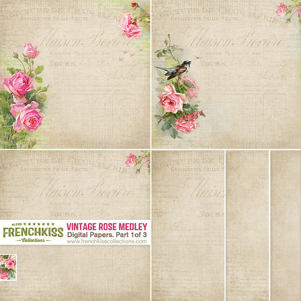 Vintage Rose Medley Digital Papers - tan