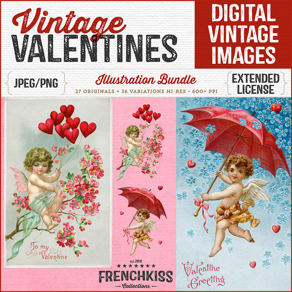 Vintage Valentine Illustrations digital graphics collection High Res, Extended commercial license.