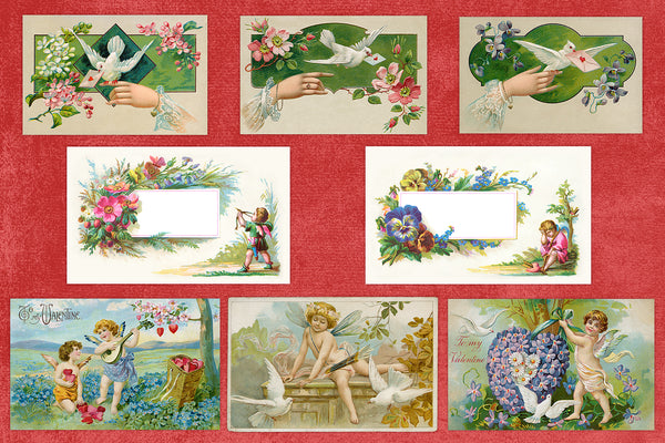 Vintage Valentine Illustrations digital graphics background isolated collection High Res, Extended commercial license.