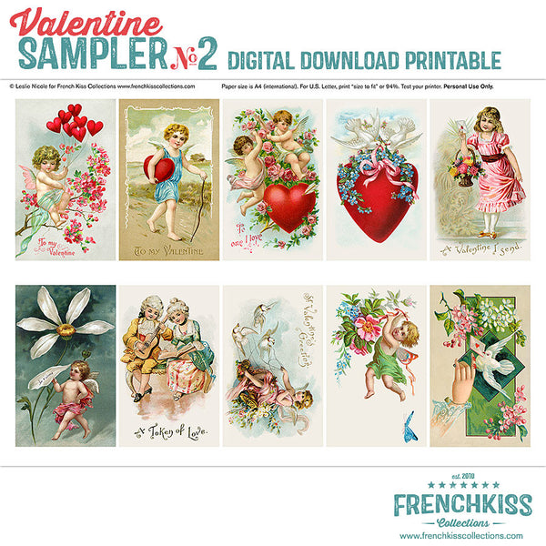 Vintage Valentine Sampler digital collage sheet printable-all..