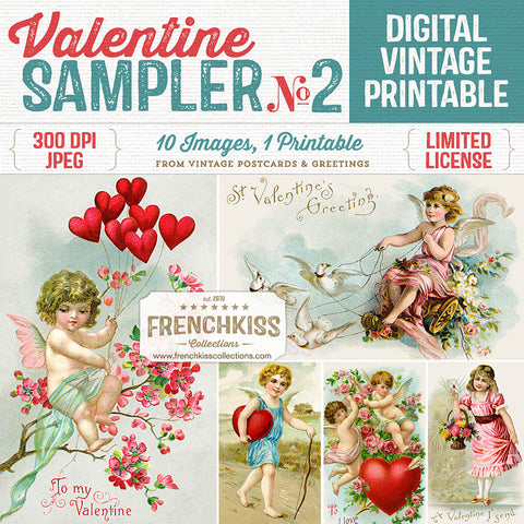 Vintage Valentine Sampler digital collage sheet printable.