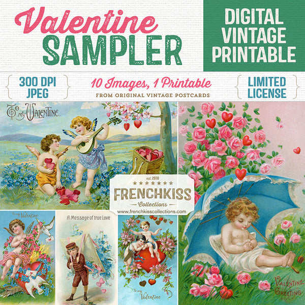 Vintage Valentine Sampler printable collage sheet.