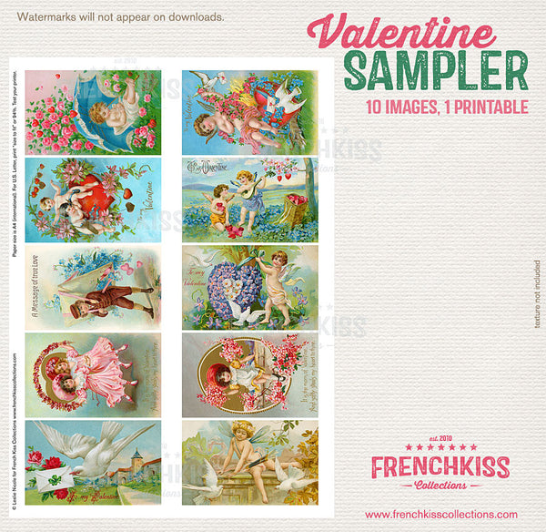 Vintage Valentine Sampler printable collage sheet - all.
