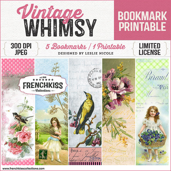 Delightful designs by Leslie Nicole blending vintage illustrations and ephemera with artistic elements for original bookmarks.
