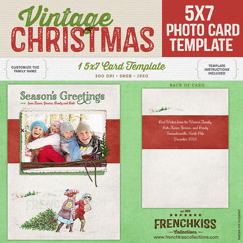 Vintage Christmas 5x7 digital photo card template