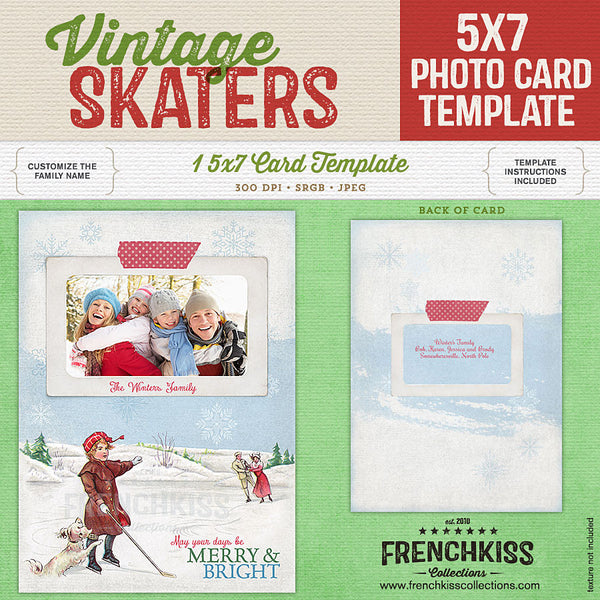 Vintage Ice Skaters 5x7 digital photo card template