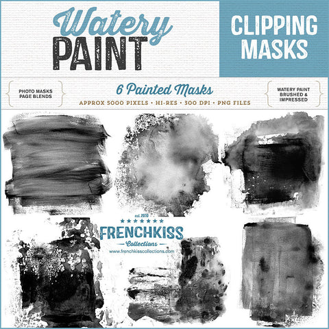 French Kiss Collections Watery Paint digital overlay masks