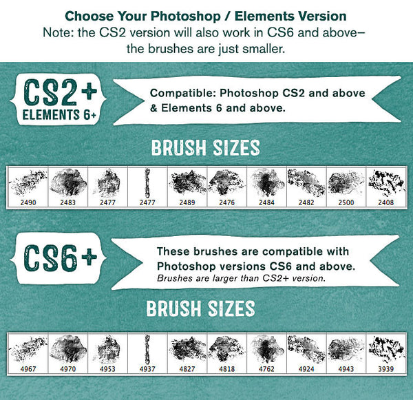 Watery Paint Impressions Photoshop Brush sizes