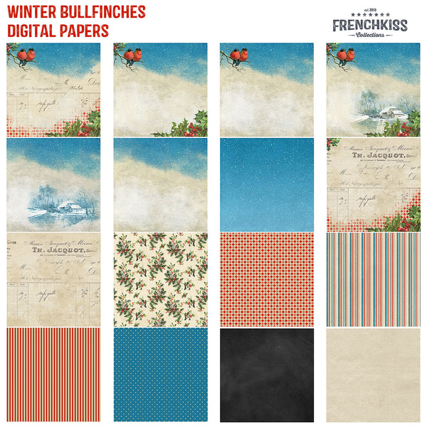 Winter Bullfinches Digital Papers featuring vintage illustrations and ephemera, holly and snow.