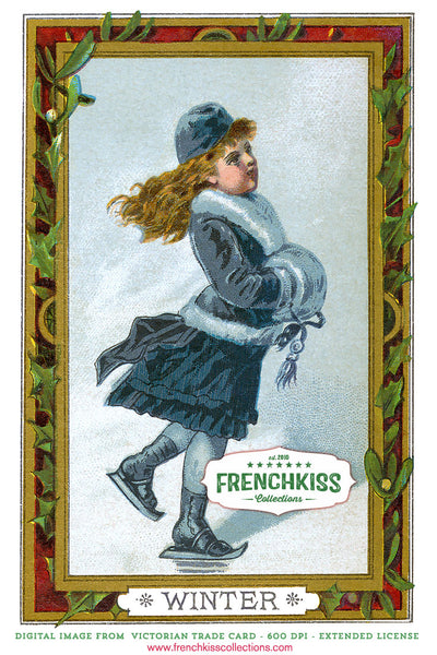 Winter girl skating part of Girl Seasonal digital Victorian Trade Cards.