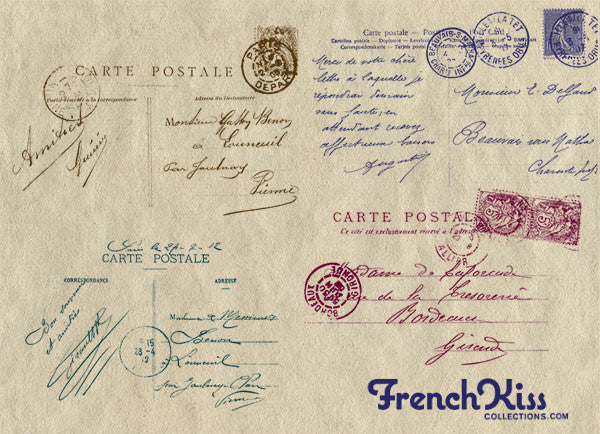 Vintage French Postcard Brush Stamps