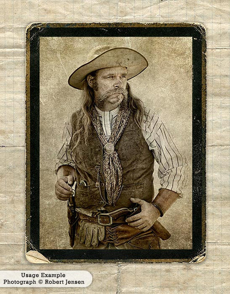 Western gun slinger portrait using the digital Vintage Grunge Frames.