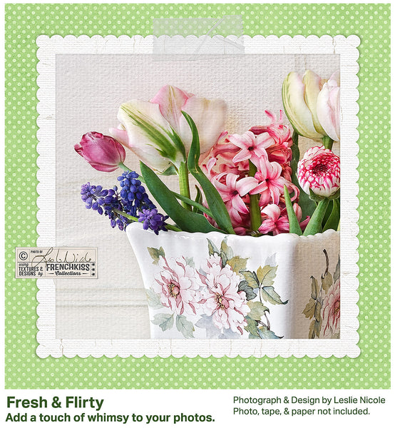 Fine Art Floral Photograph using a digital frame with scalloped edges.