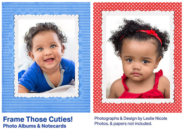 Children portraits using white, scalloped digital frames against digital backgrounds.