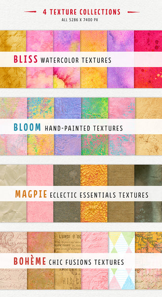 The 4 texture collections in The Complete Inspirational Textures and Elements Collection.