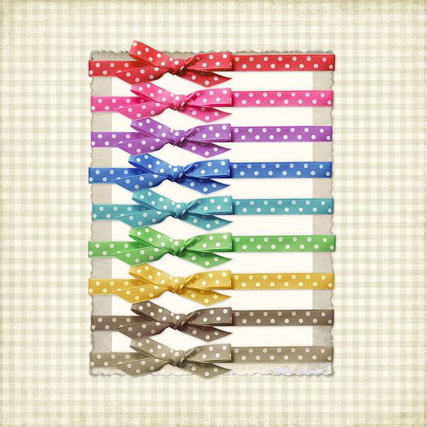 All colors of the ribbon and bow digital Polka Dot Frame Tie-Ups.