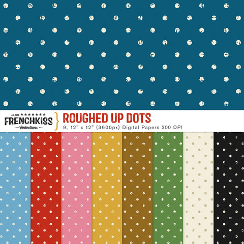 Roughed Up Dots Digital Papers. A classic polka dot pattern with a twist.