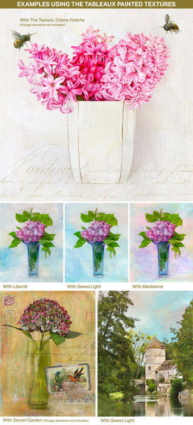 Examples of textured photographs using the Tableaux painted textures.