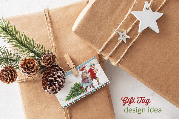 Gift tag idea using a vintage illustration from the Vintage Christmas Compendium.