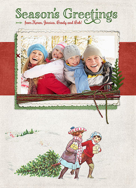 Vintage Christmas 5x7 digital photo card template - front