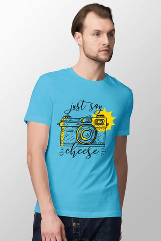 Just Say Cheese Sky Blue T-Shirt