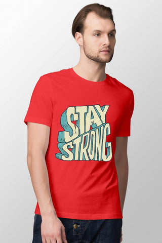 Stay Strong Red T-Shirt for Men