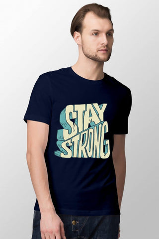 Stay Strong Navy Blue T-Shirt for Men
