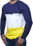StareMe Full Sleeves Triple Colour Navy Pattern Cotton T-shirt