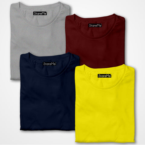 Men's 4 Colour Combo T-shirts | Grey, Maroon, Navy Blue, Yellow