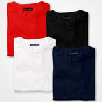 Men's 4 Colour Combo T-shirts | Red, Black, White, Navy Blue