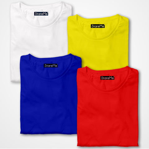 Men's 4 Colour Combo T-shirts | White, Yellow, Royal Blue, Red