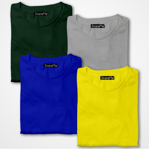 Men's 4 Colour Combo T-shirts | Bottle Green, Grey, Royal Blue, Yellow
