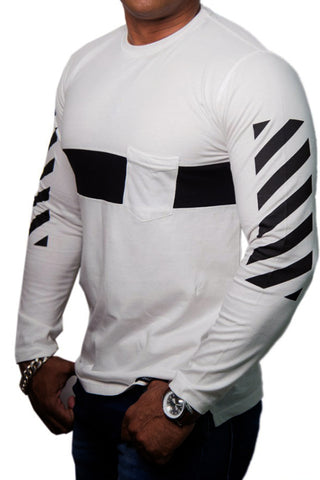 StareMe Full Sleeves White With Black Patch Cotton T-shirt