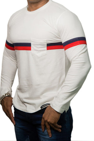 StareMe Full Sleeves White Cotton T-shirt With Two Stripe Pattern on Chest
