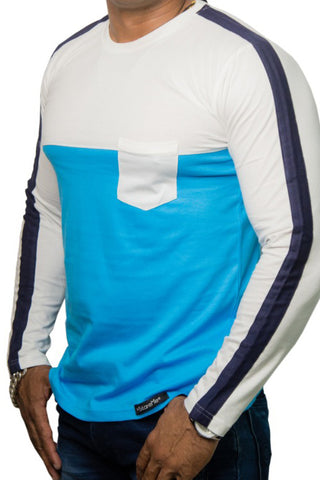 StareMe Full Sleeves White and Blue Cotton T-shirt With Designer Pattern