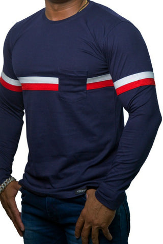 StareMe Full Sleeves Navy Blue Cotton T-shirt With Two Stripe Pattern on Chest
