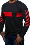 StareMe Full Sleeves Black Cotton T-shirt With Red Patch
