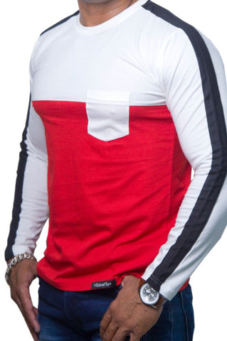 StareMe Full Sleeves White and Red Cotton T-shirt With Designer Pattern