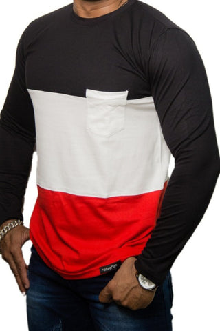 StareMe Full Sleeves Triple Colour Pattern Cotton T-shirt