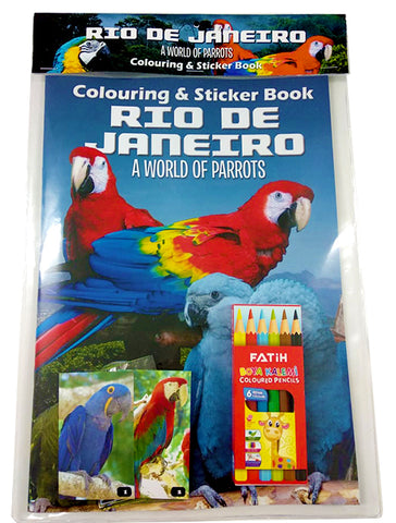 Rio De Janeiro - A World of Parrots (Colouring and Sticker Book)