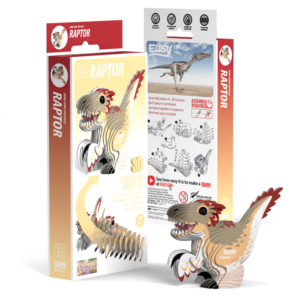 Eugy Raptor 3D Puzzle — Educational Toy for Boys and Girls, 28 PIece Puzzle