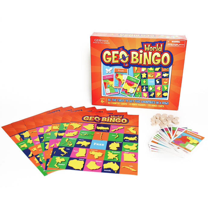 GeoToys — GeoBingo World — Board Games for Kids — Geography Bingo Game Learning Resources and Educational Toys — Kid Toys for Ages 4 and Up