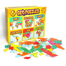 Load image into Gallery viewer, 6+ GeoPuzzles Set in One Box — Educational Geography Jigsaw Puzzles for Ages 4 and up