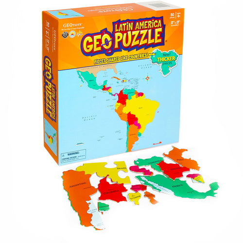 GeoPuzzle Latin America — Educational 50 Piece Geography Jigsaw Puzzle — Ages 4 and up