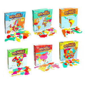 Set of 6 GeoPuzzles in Individual Boxes — Educational Geography Jigsaw Puzzles — Ages 4 and up